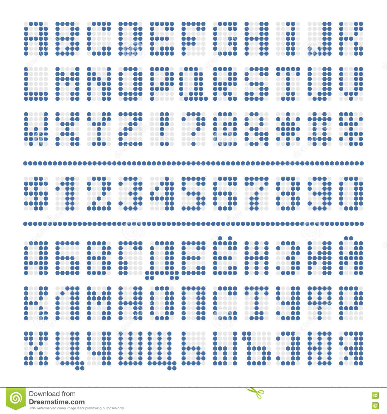 Dotted Font Alphabet Digital Letters And Numbers Stock