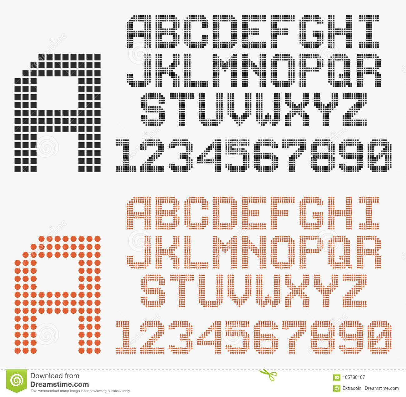 Dotted Font In Retro Style, Rounded And Pixeled Alphabet Stock