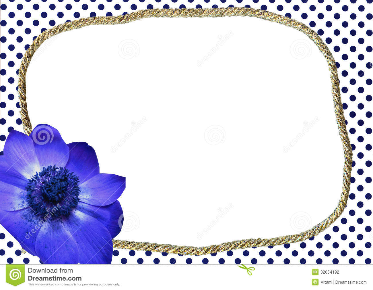 Dotted Frame With Blue Flower Stock Photography Image
