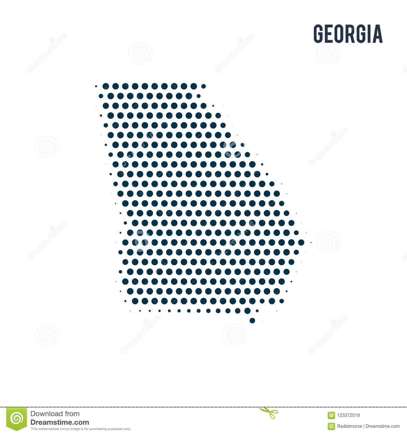Map Of The State Of Georgia.Dotted Georgia Map Isolated On White Background Stock Illustration
