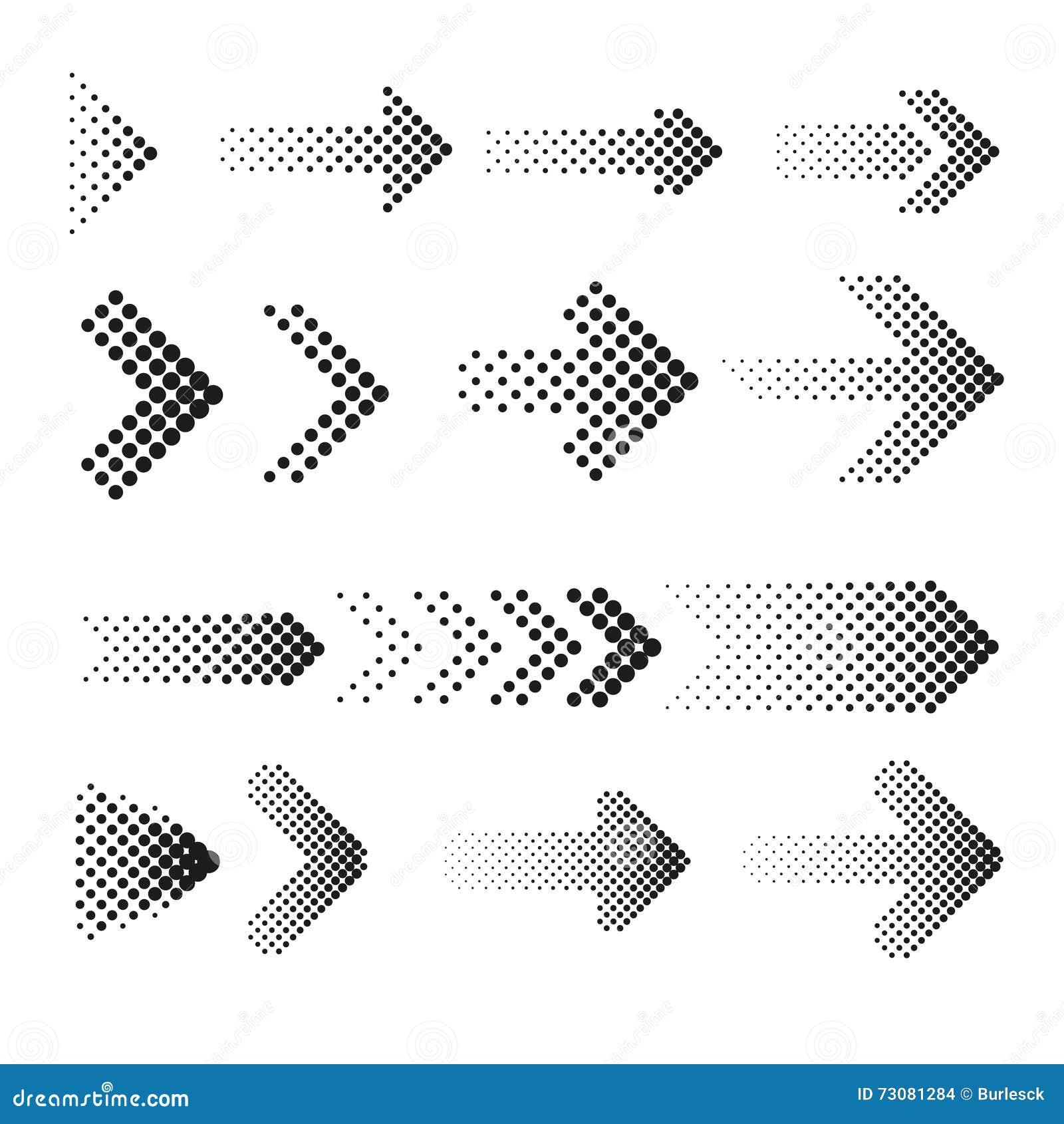 Vector Illustration Web Designs: Dotted Halftone Arrows Vector Set Stock Vector