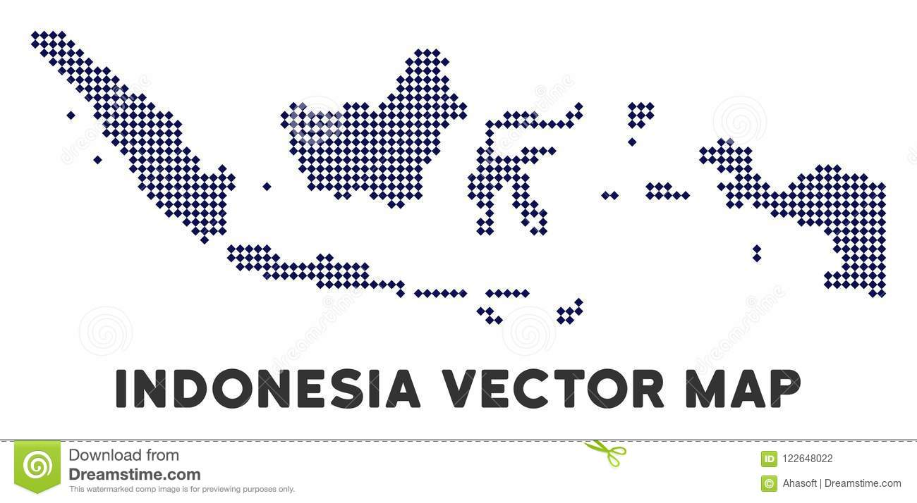 Dotted Indonesia Map stock vector. Illustration of state - 122648022