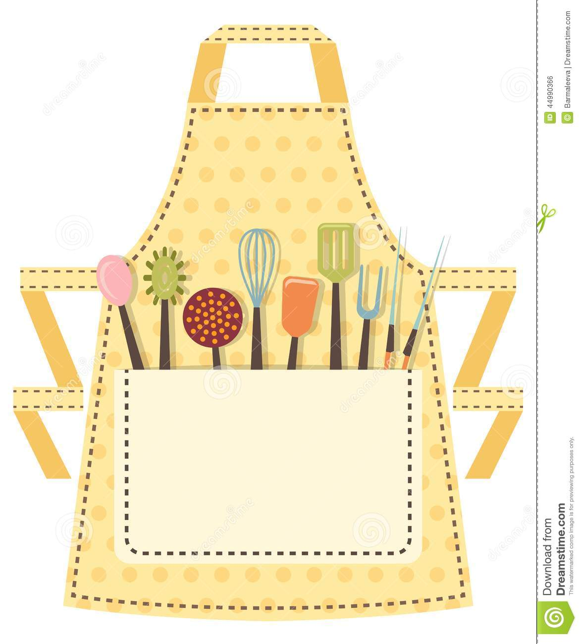 dotted kitchen apron with kitchen utensils in the stock bride clipart bridal clipart flowers