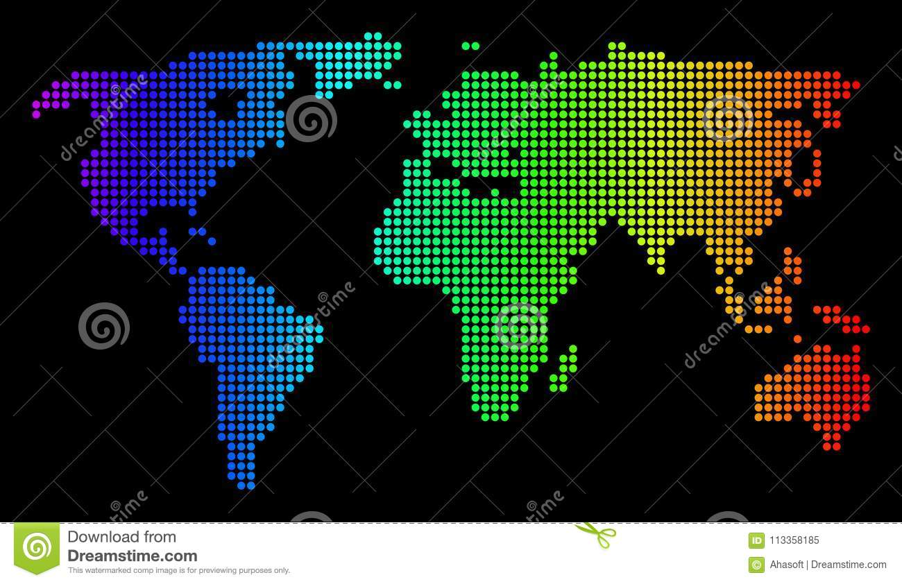 Dotted pixel spectrum world map stock vector illustration of dotted pixel spectrum world map royalty free vector gumiabroncs Choice Image