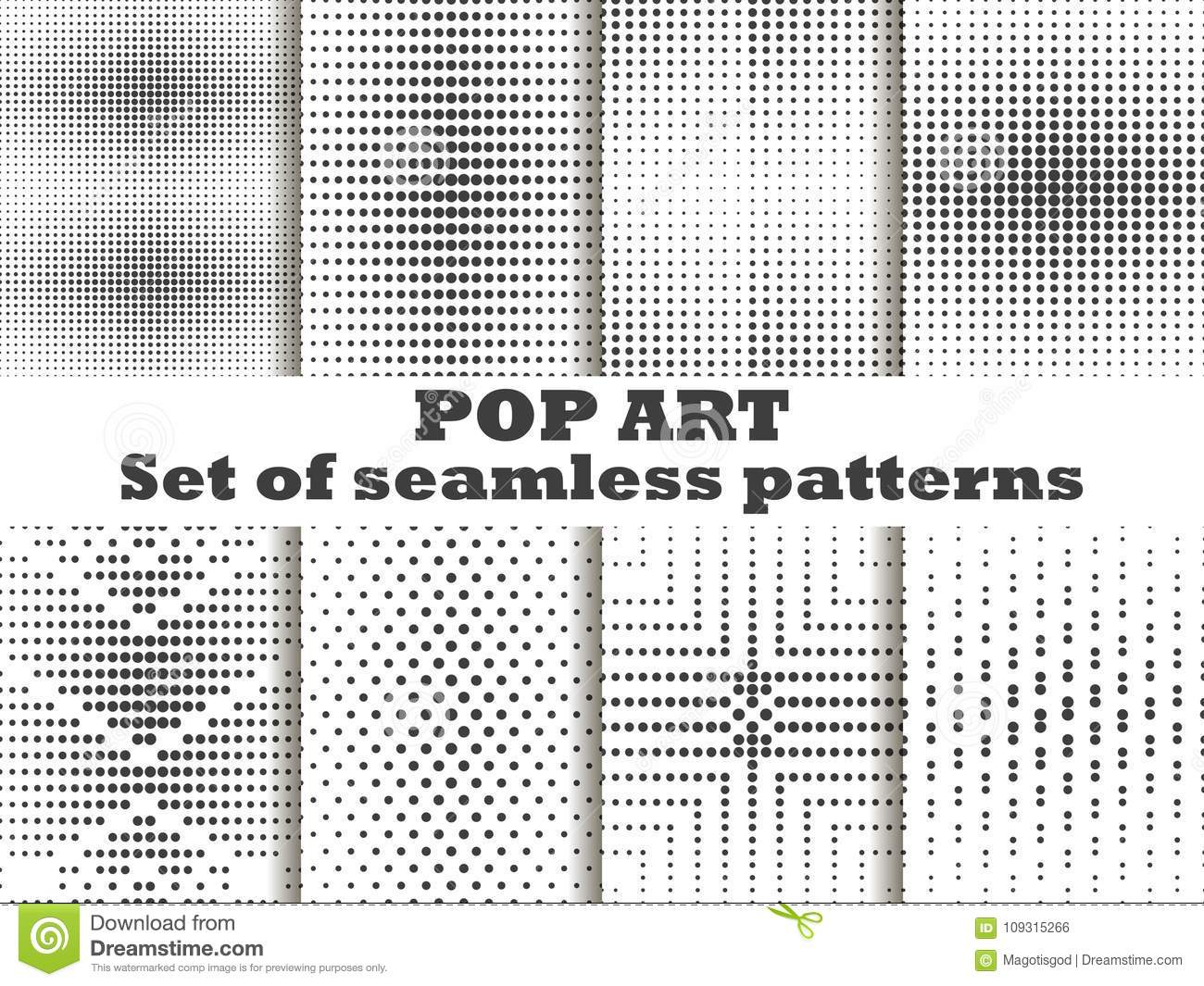 Dotted, Pop Art seamless pattern set. Halftone dots background. Black and white color. Vector