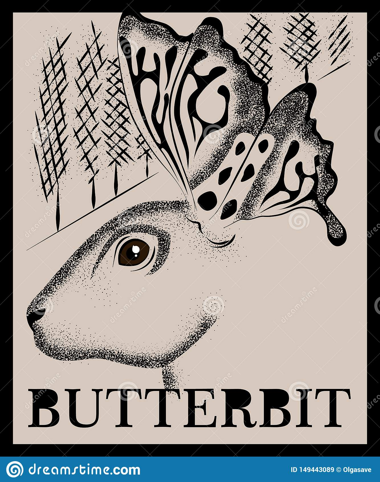 Dotted rabbit drawing with butterfly wings