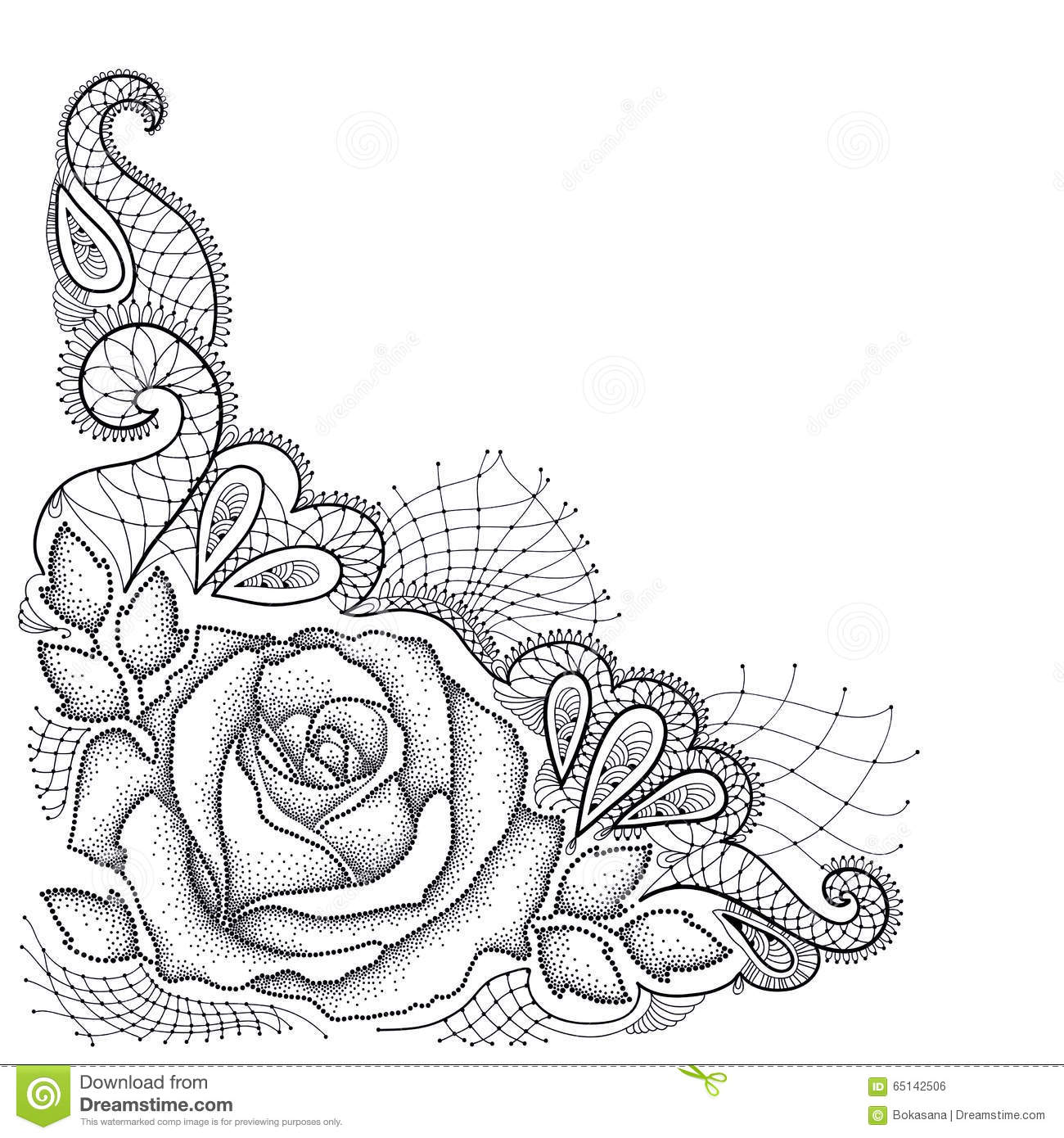 Black Flower Rose From Lace On White Background: Dotted Rose With Leaves And Decorative Lace In Black On