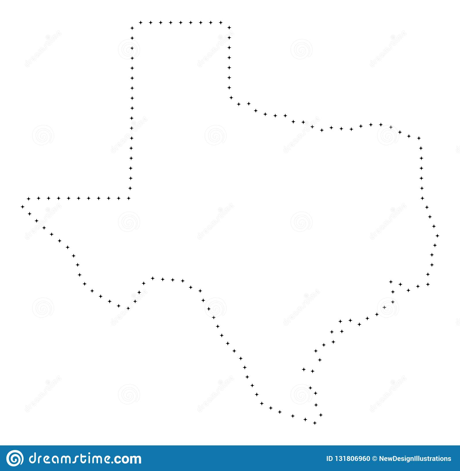 Map Of Texas Quiz.Dotted Stroke Texas State Map Stock Vector Illustration Of