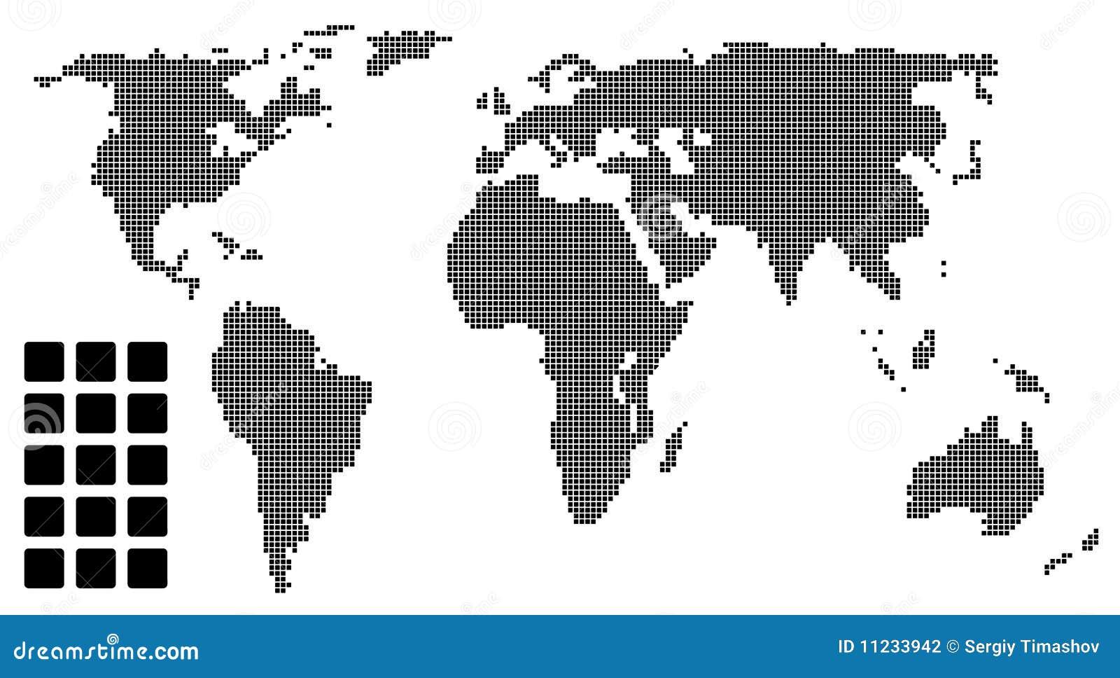 Pixel world map stock illustrations 1155 pixel world map stock vector pixel world map easy to edit publicscrutiny Choice Image
