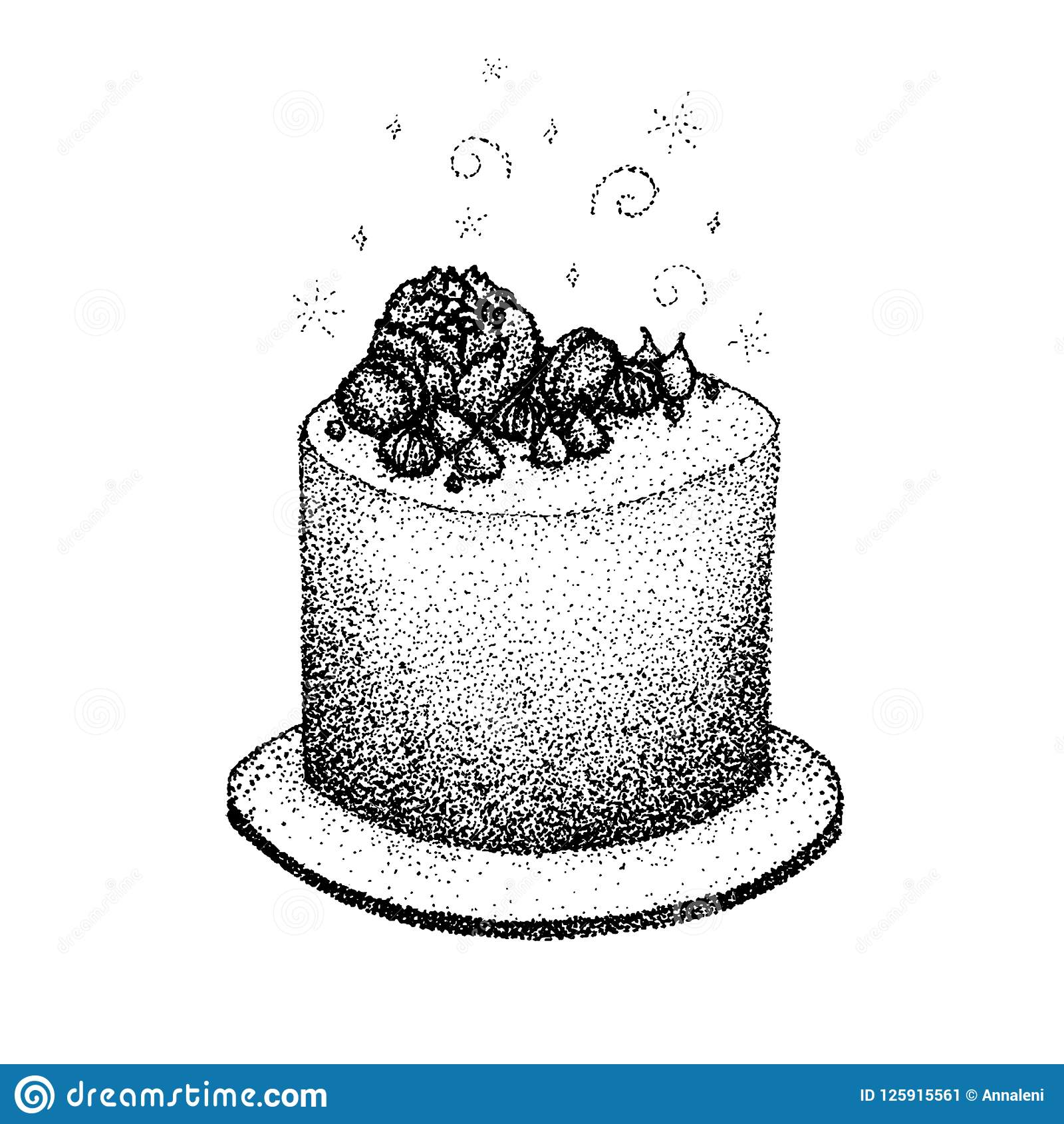 Magnificent Dotwork Birthday Cake Stock Vector Illustration Of Abstract Birthday Cards Printable Riciscafe Filternl