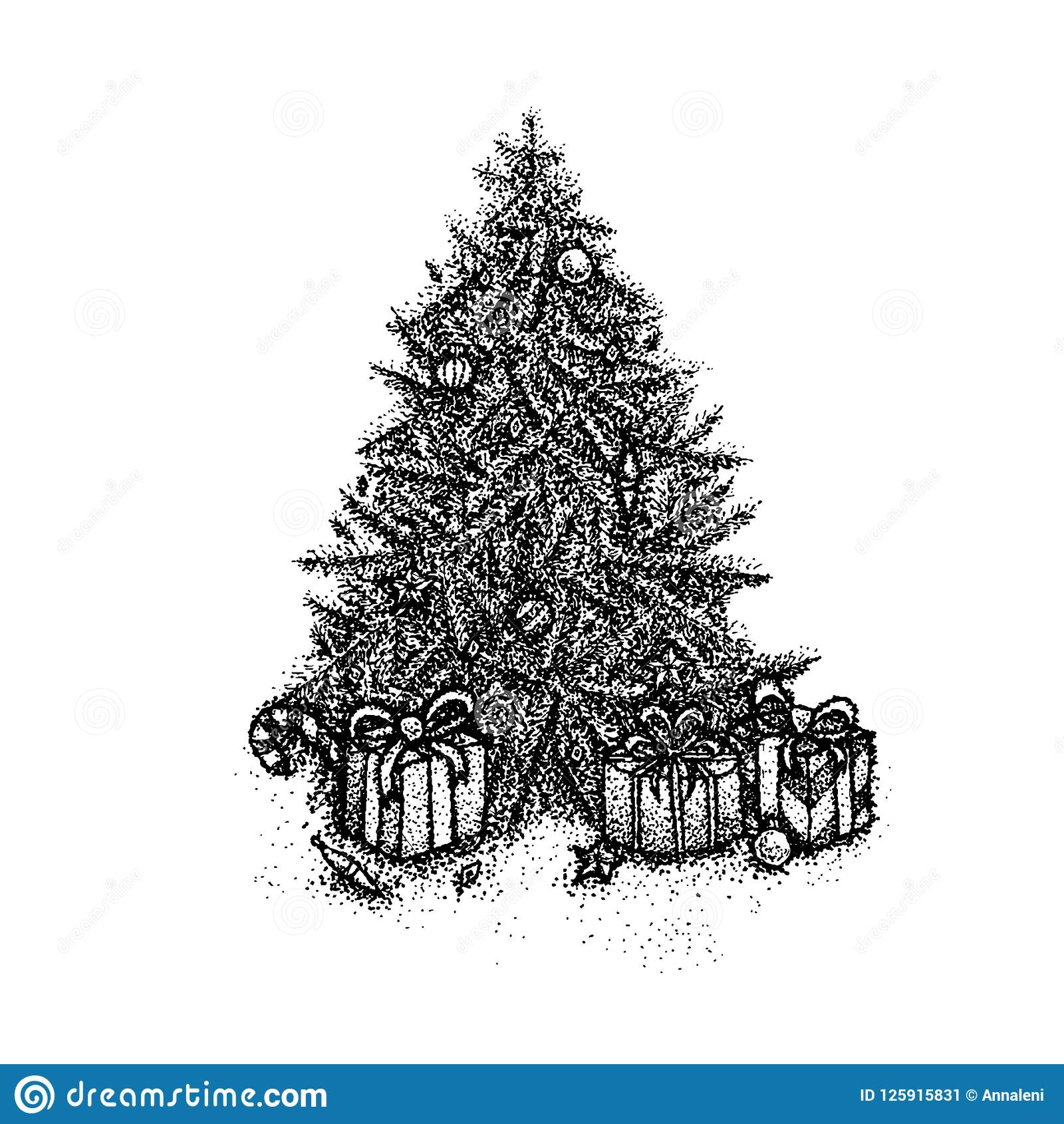 Christmas Tree Tattoo Designs.Dotwork Christmas Tree Stock Vector Illustration Of Object