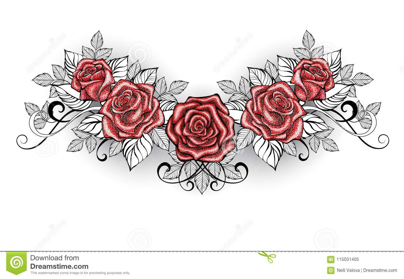Dotwork Red Roses Tattoo On White Background Stock Vector