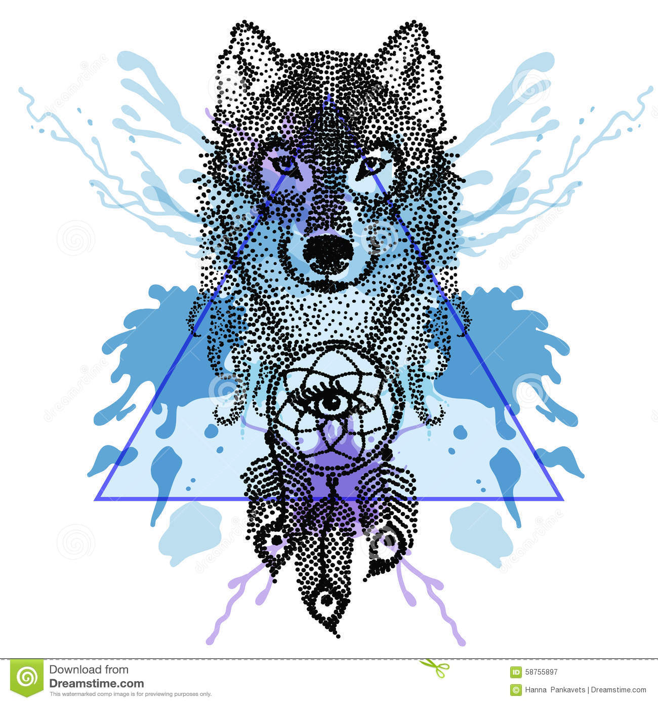 dotwork tatoo stylized wolf face with dreamcatcher in triangle stock vector image 58755897 dream catcher vector dream catcher vector