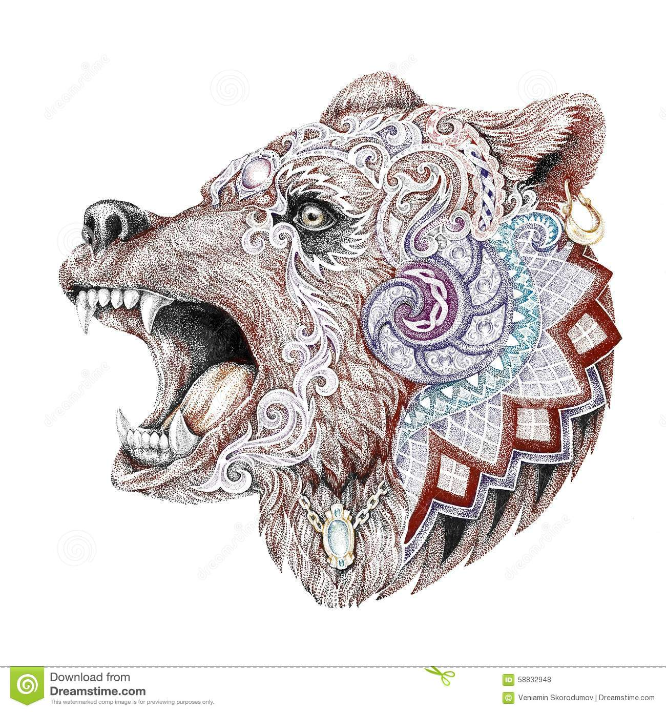 Dotwork, Tattoo, Head Enraged Bear Stock Illustration - Image ...