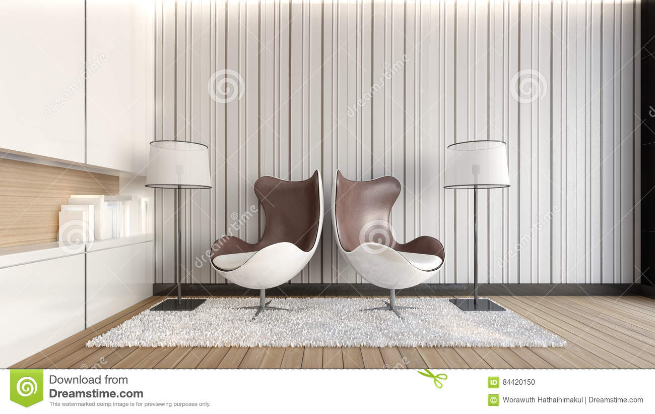 Double Armchairs In The Living Room / 3D Rendering Stock ...