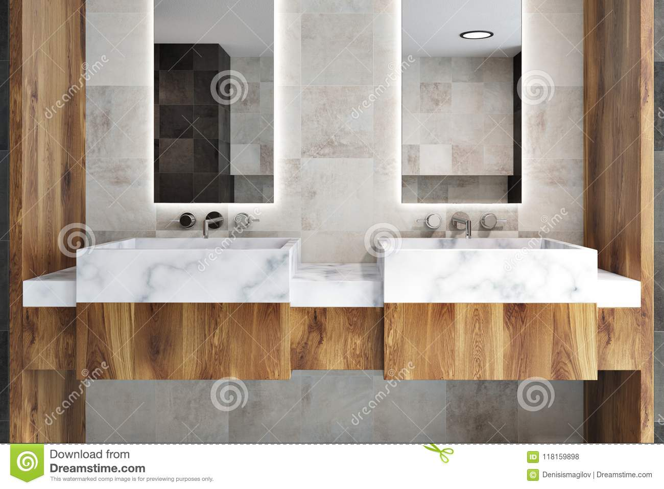 Double Bathroom Sink Wooden Countertop Close Up Stock Illustration ...