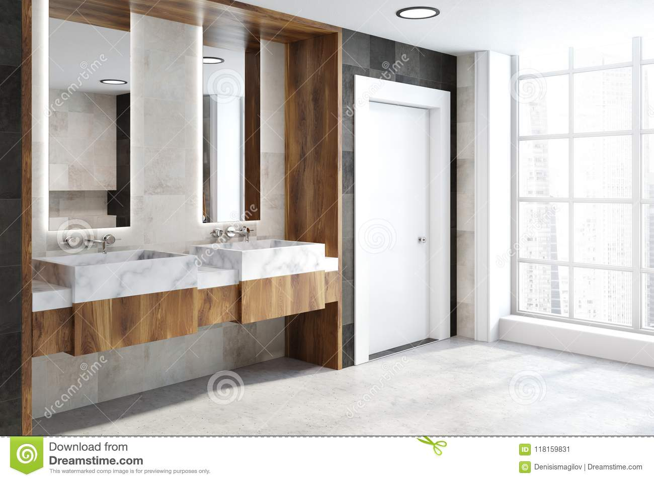 Double Bathroom Sink Wooden Countertop, Side View Stock Illustration ...
