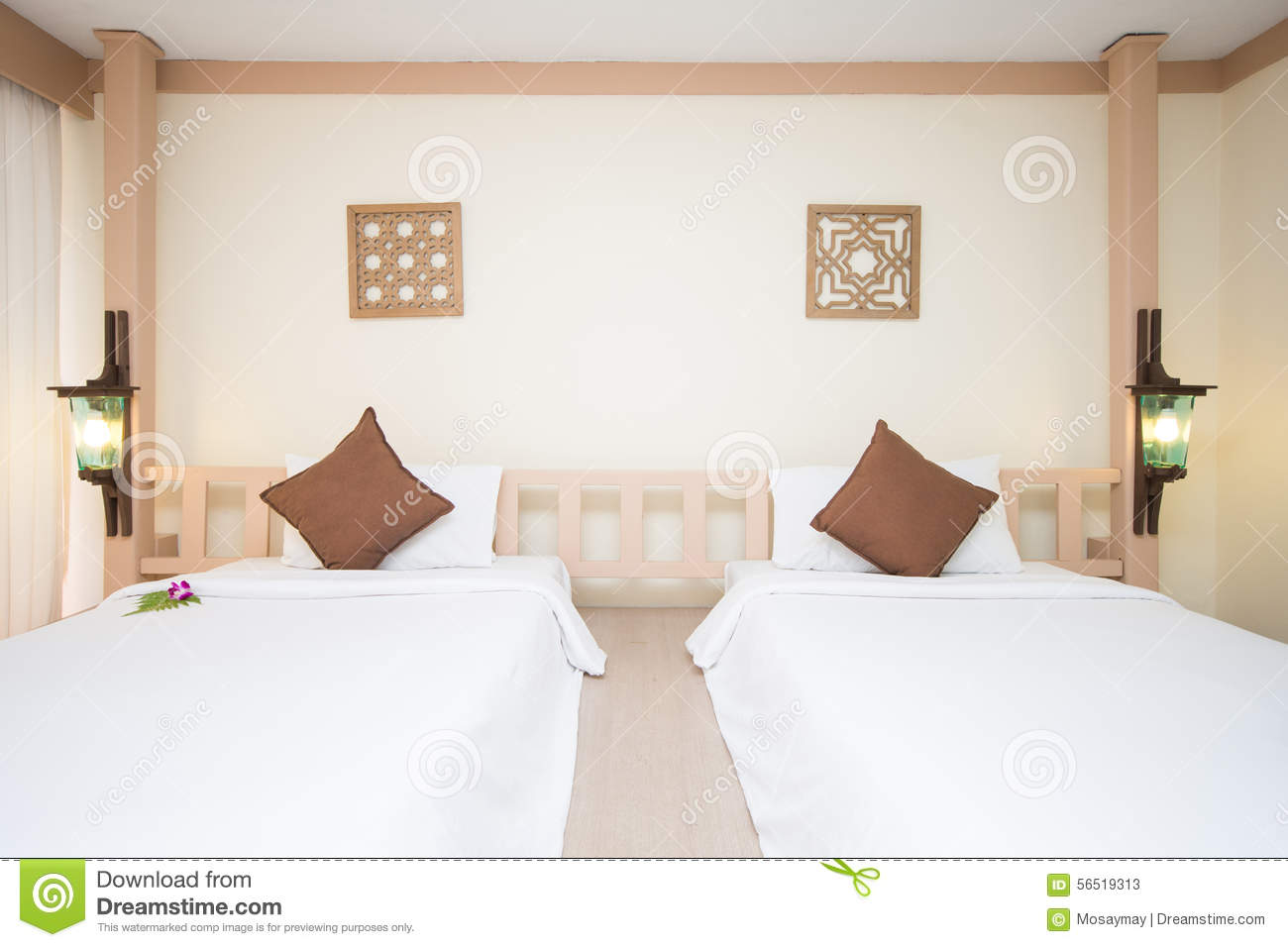 Double Bed In Bedrooms Are Decorated In Modern Style Stock ...