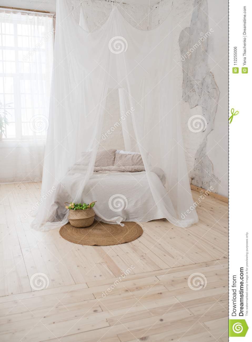 Double bed with gray bed linen and canopy. & Double Bed With Gray Bed Linen And Canopy. . Stock Photo - Image of ...