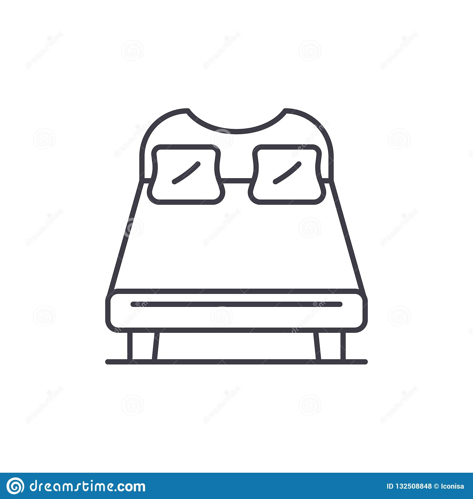 Miraculous Double Bed Line Icon Concept Double Bed Vector Linear Cjindustries Chair Design For Home Cjindustriesco