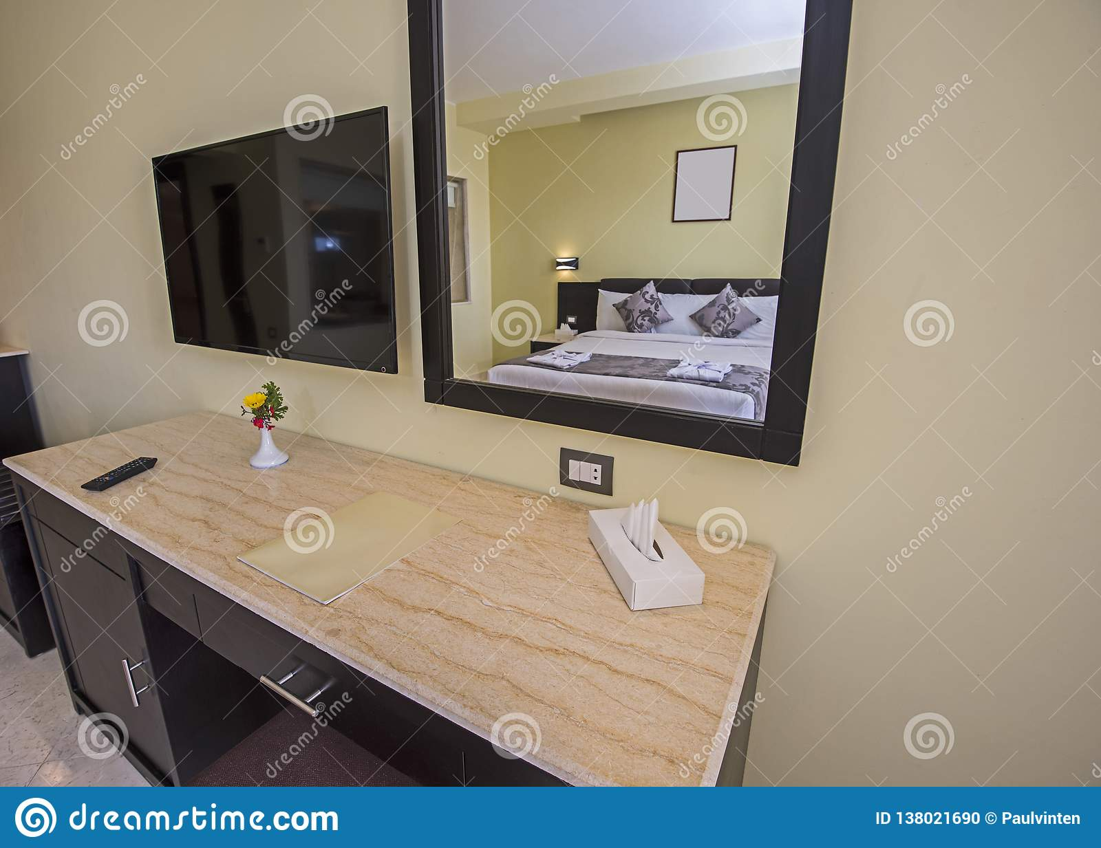 Double bed in a luxury suite of a hotel room