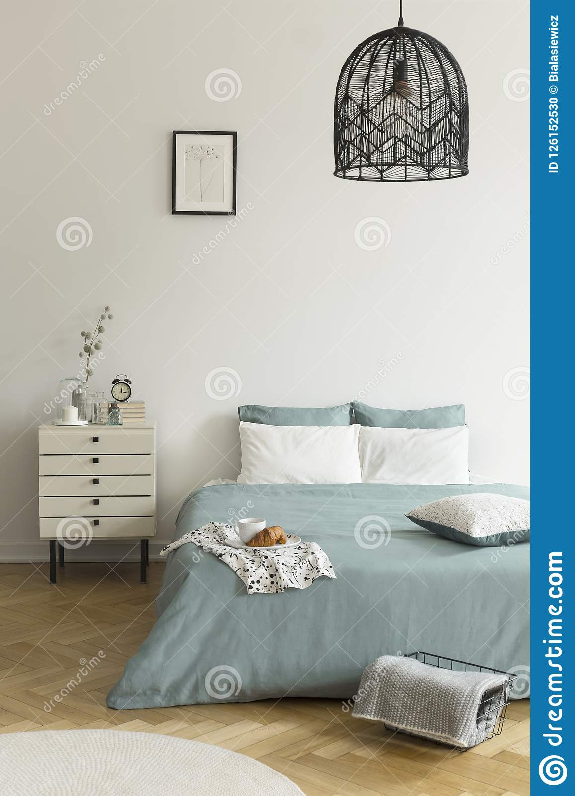 A Double Bed With Sage Green And White Bedding Standing On A Wooden Floor In A Bright Bedroom Interior A Nightstand Next To The B Stock Photo Image Of Flat Sage