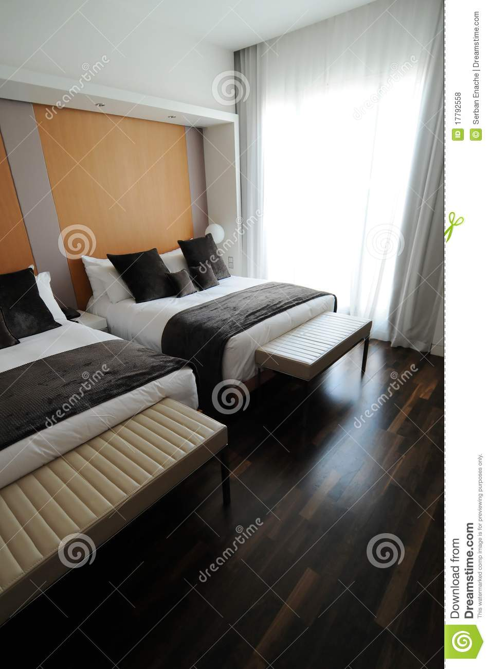 Twin Bed Hotel Room: Double Beds In Hotel Stock Photo. Image Of Twin