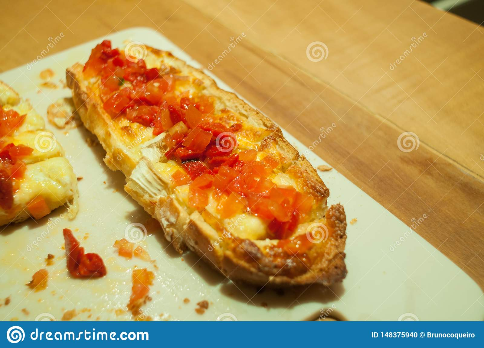 Double Brusqueta With Italian Tomatoes And Cheese On The