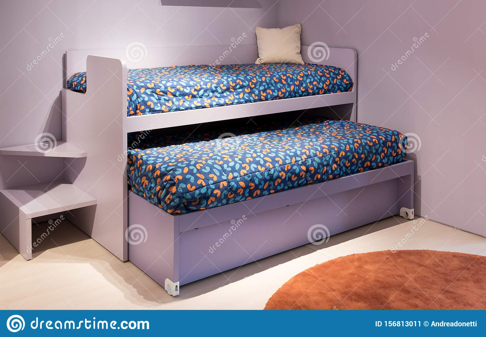 Picture of: Double Bunk Bed In A Kids Bedroom Stock Image Image Of Home Designer 156813011