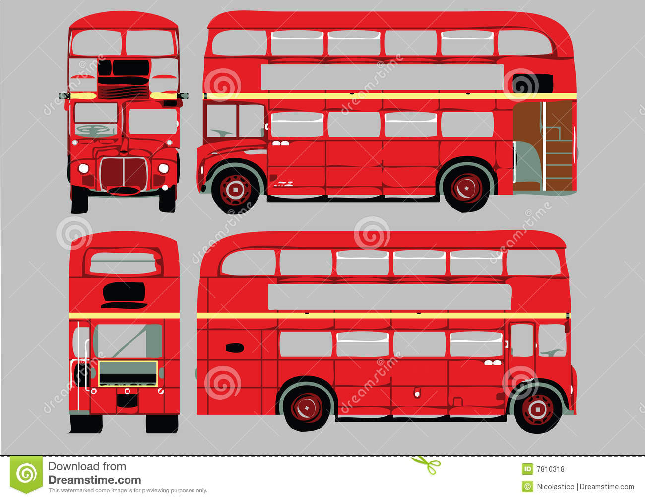 Double de pont de bus illustration de vecteur - Dessin bus anglais ...