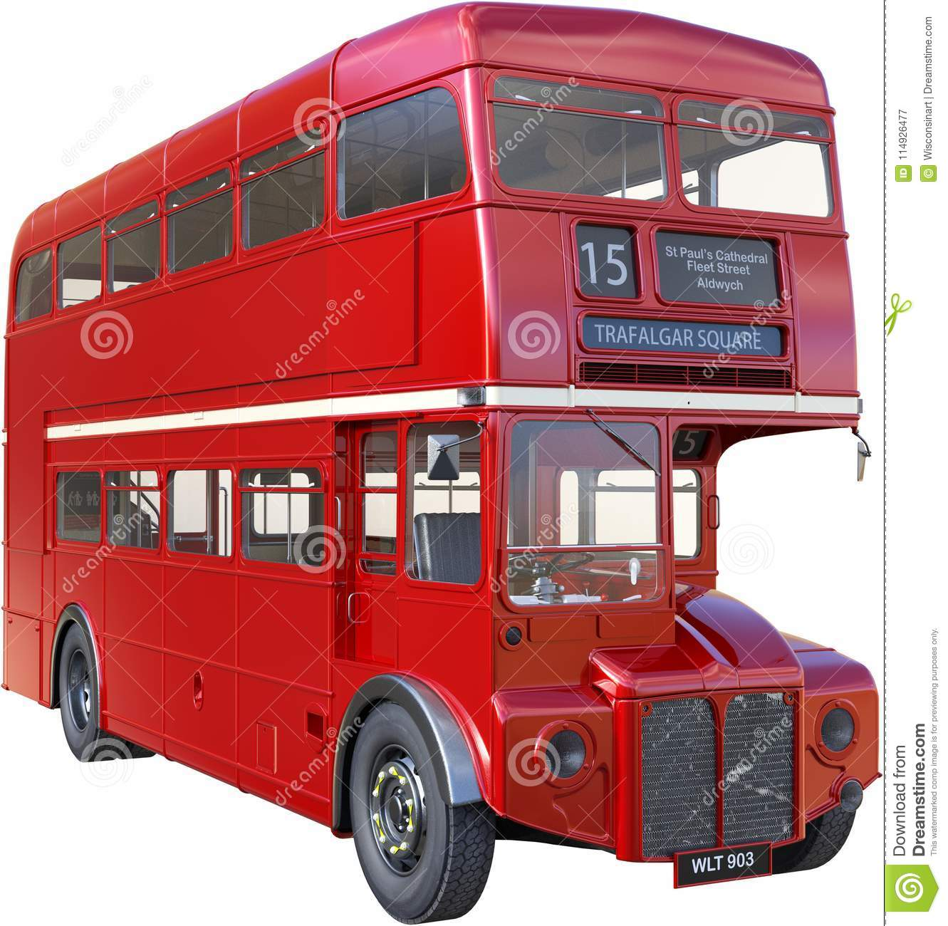 Double Decker London Bus Isolated, Red