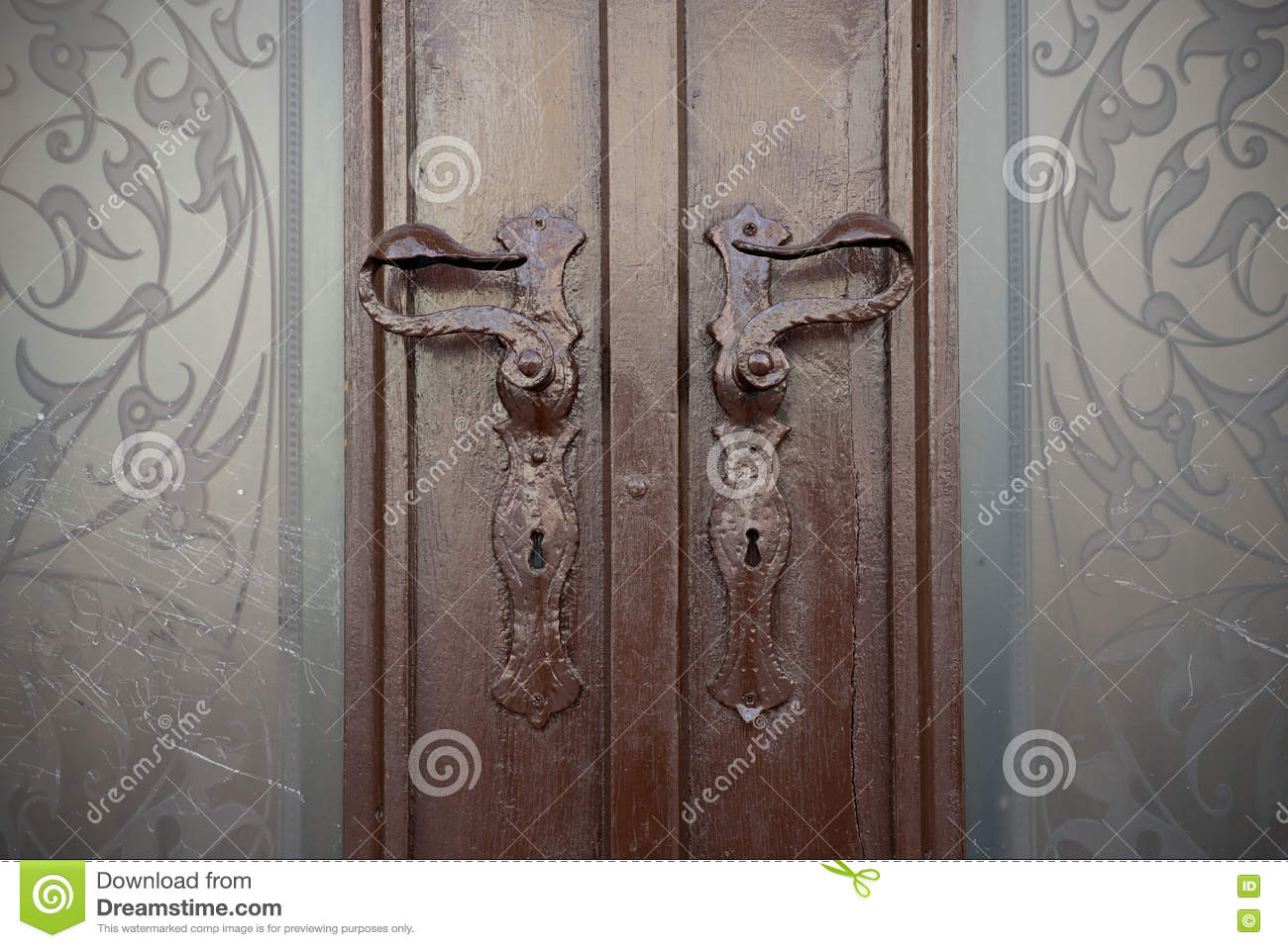 double door with beautiful stained glass