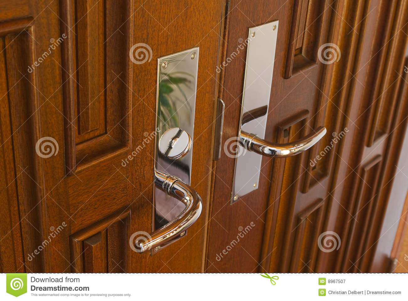 Double Door Handles Stock Image Image Of Deadbolt Door