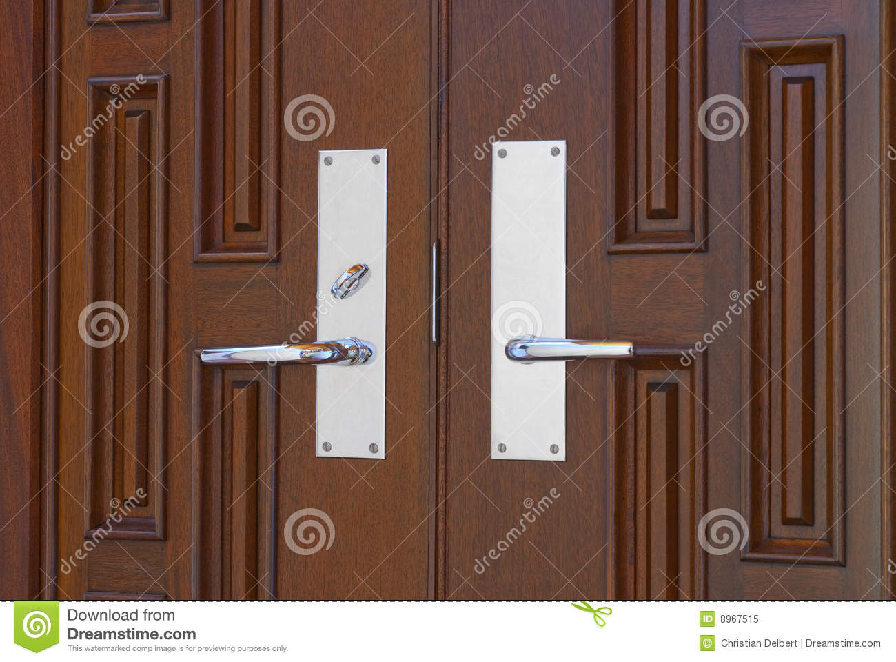 960 #83A328 Double Chrome Door Handles On Twin Mahogany Doors In Foyer. save image Hardware For Double Doors 46771300