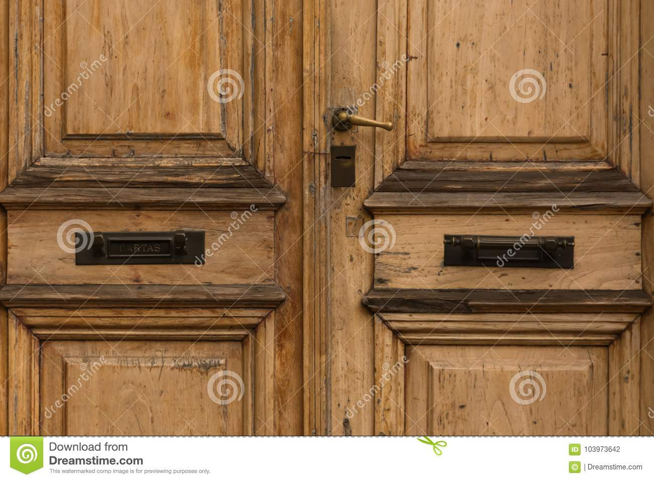 Double doors with mail slot - Double Doors With Mail Slot Stock Photo - Image Of Grunge, Antique