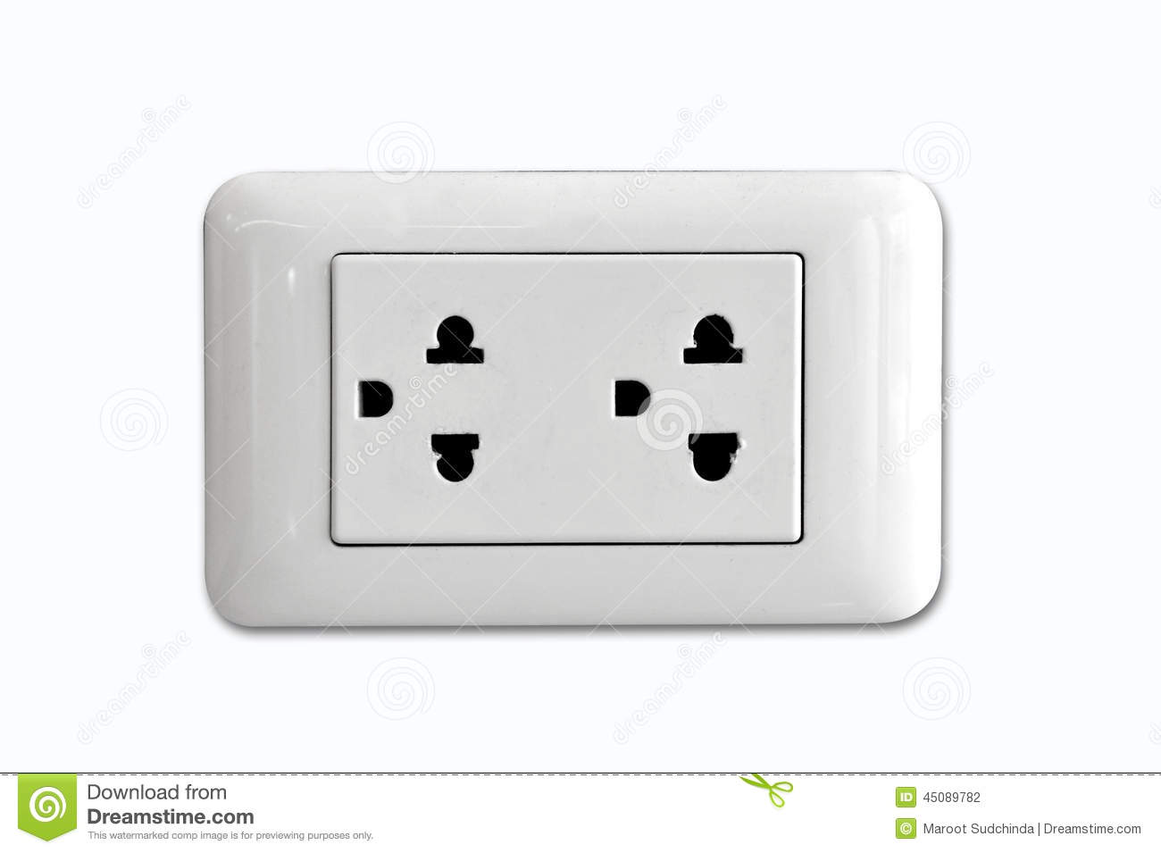 Double Electrical Power Socket And Single Plug Switched On Stock