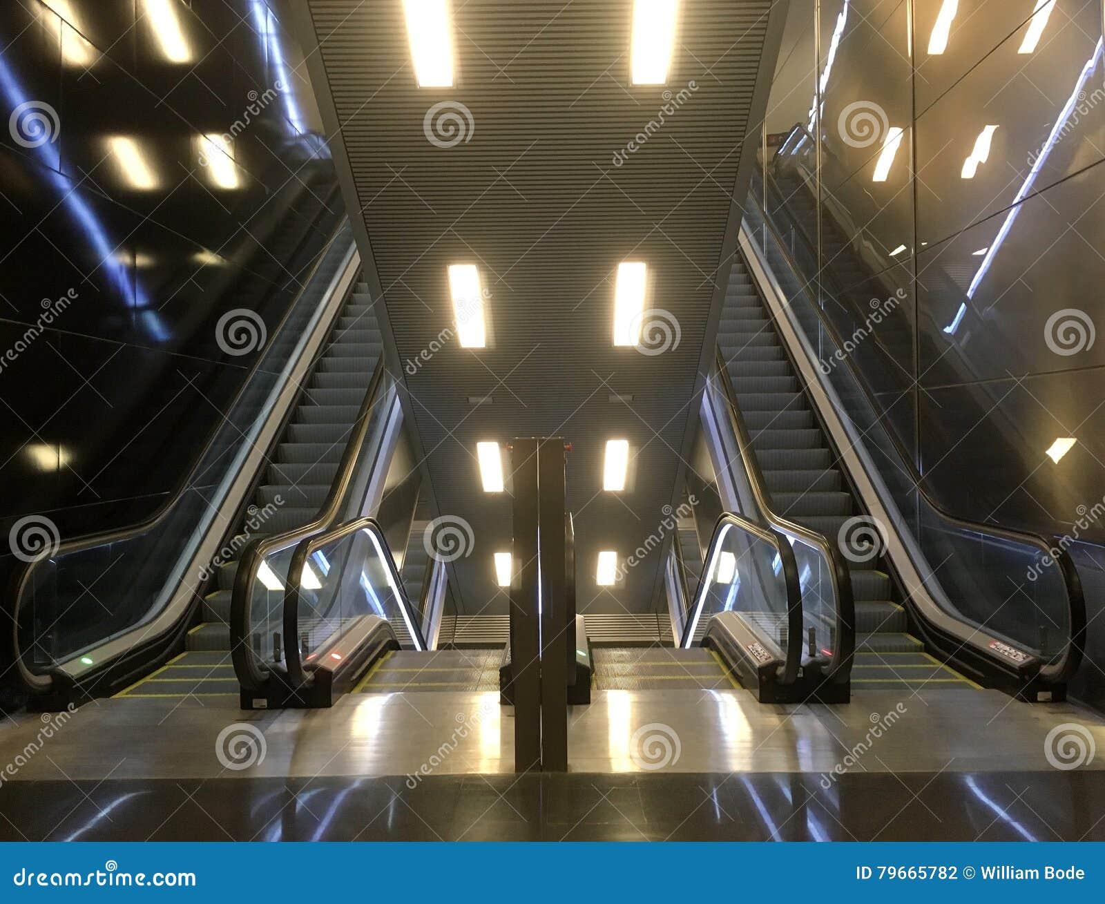 Double Escalator Ascend And Descend Stock Photo - Image of