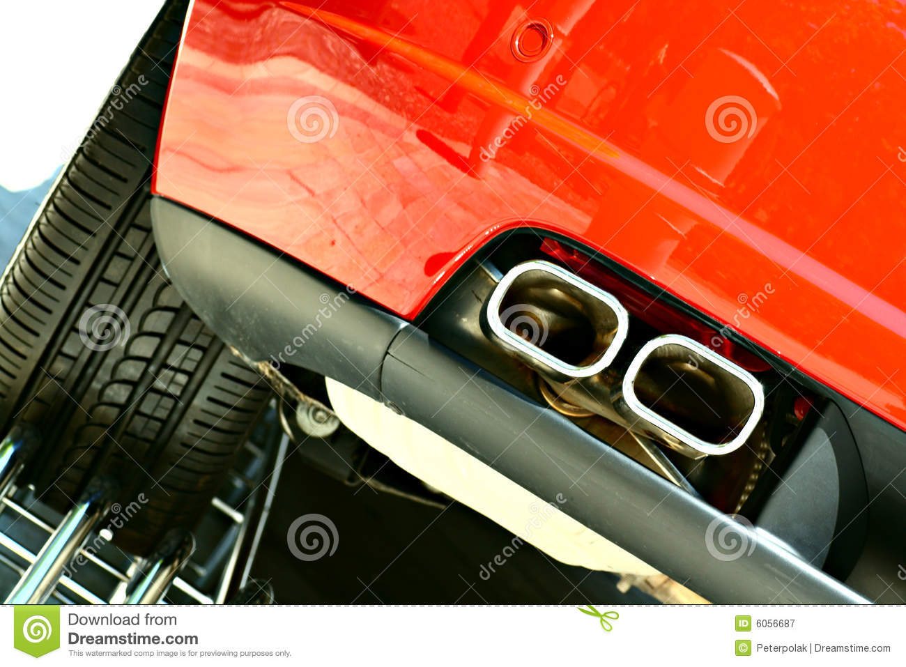 Double exhaust and wheel of a sports car
