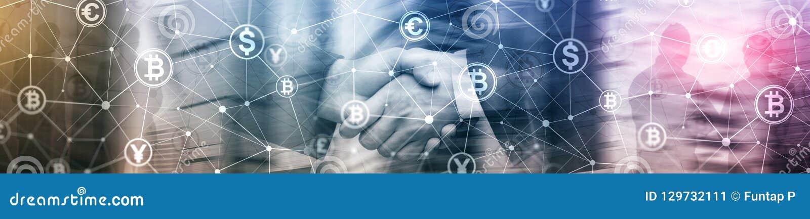 Double exposition Bitcoin et concept de blockchain Économie de Digital et commerce de devise Bannière début de site Web
