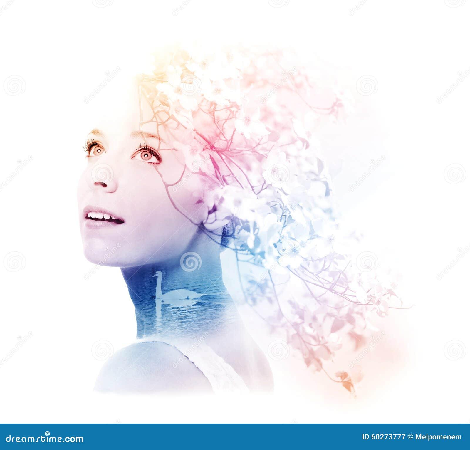 Double exposition de jeune femme avec le cygne et le cornouiller