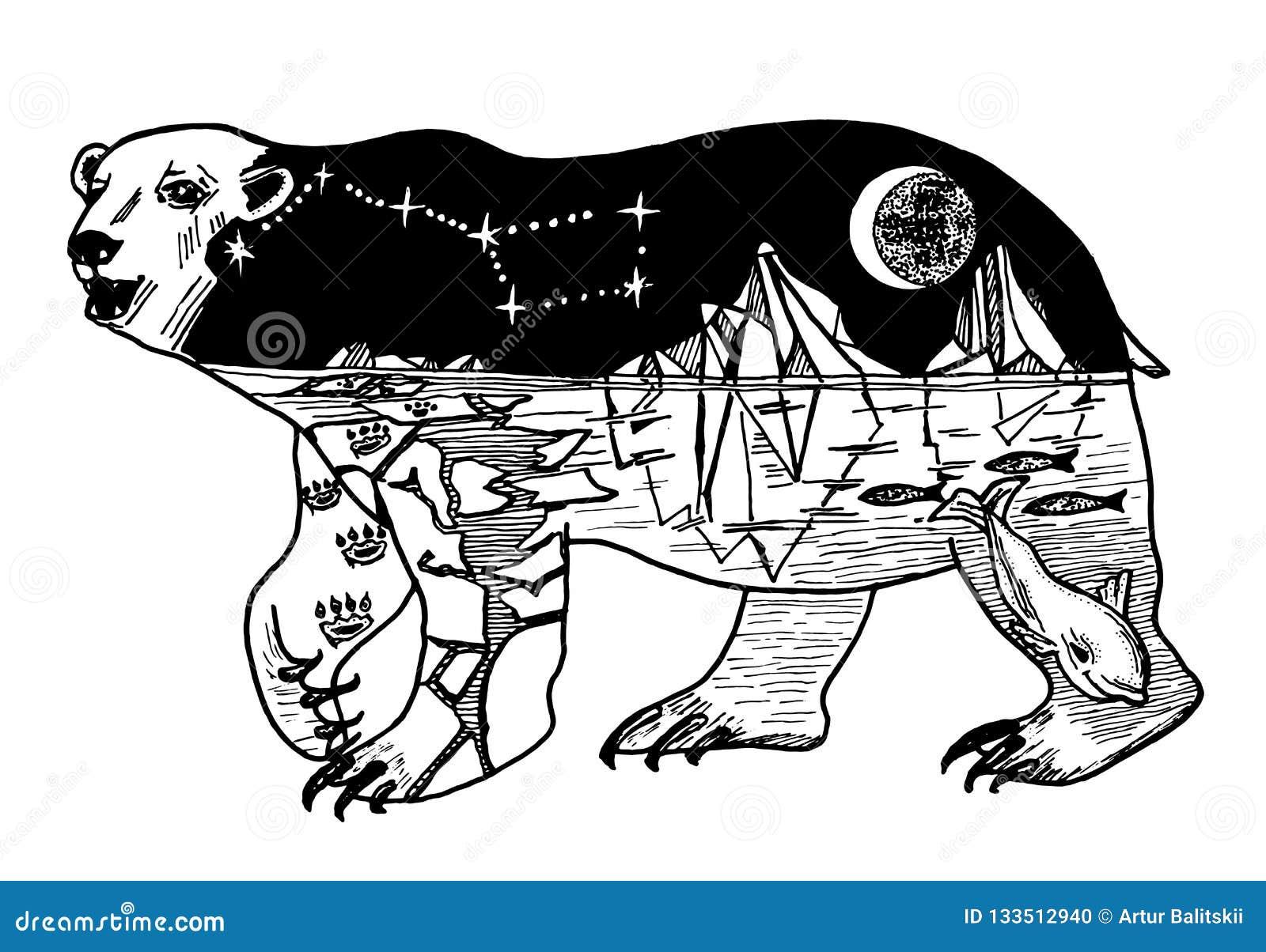 Double Exposition Ours Avec L Animal Sauvage D Abrege Sur Montagnes Espace Et Foret Pour Le Tatouage Ou Le Label Type De Cru Illustration De Vecteur Illustration Du Exposition Double 133512940