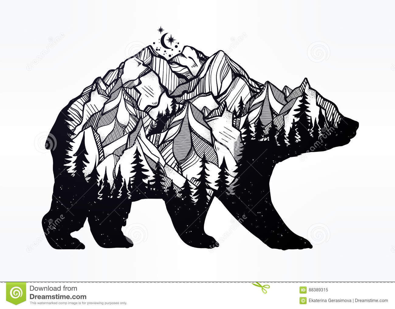 Double Exposure Bear With Mountains Landscape Stock