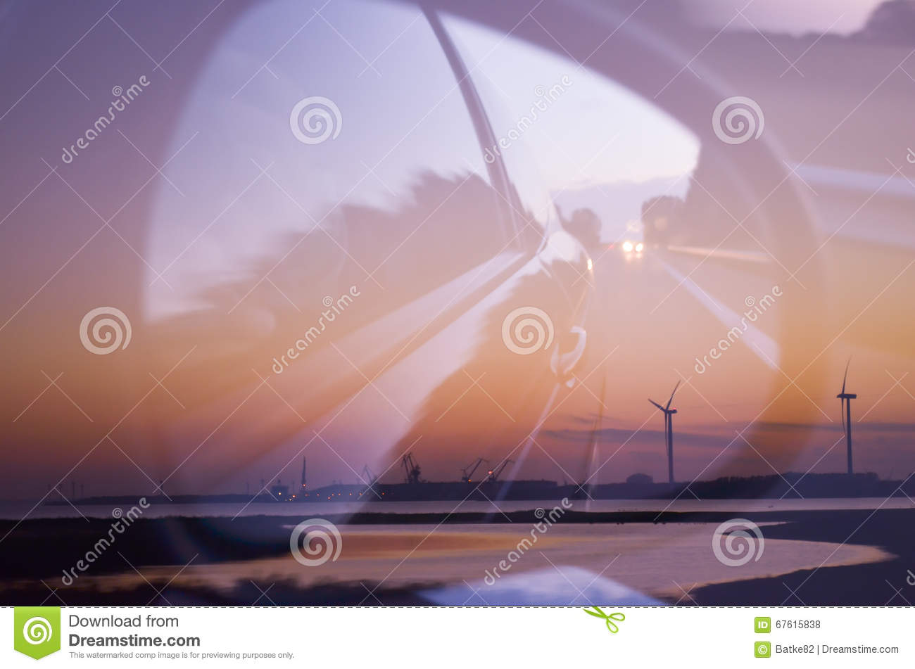Double exposure of beautiful landscape and car mirror