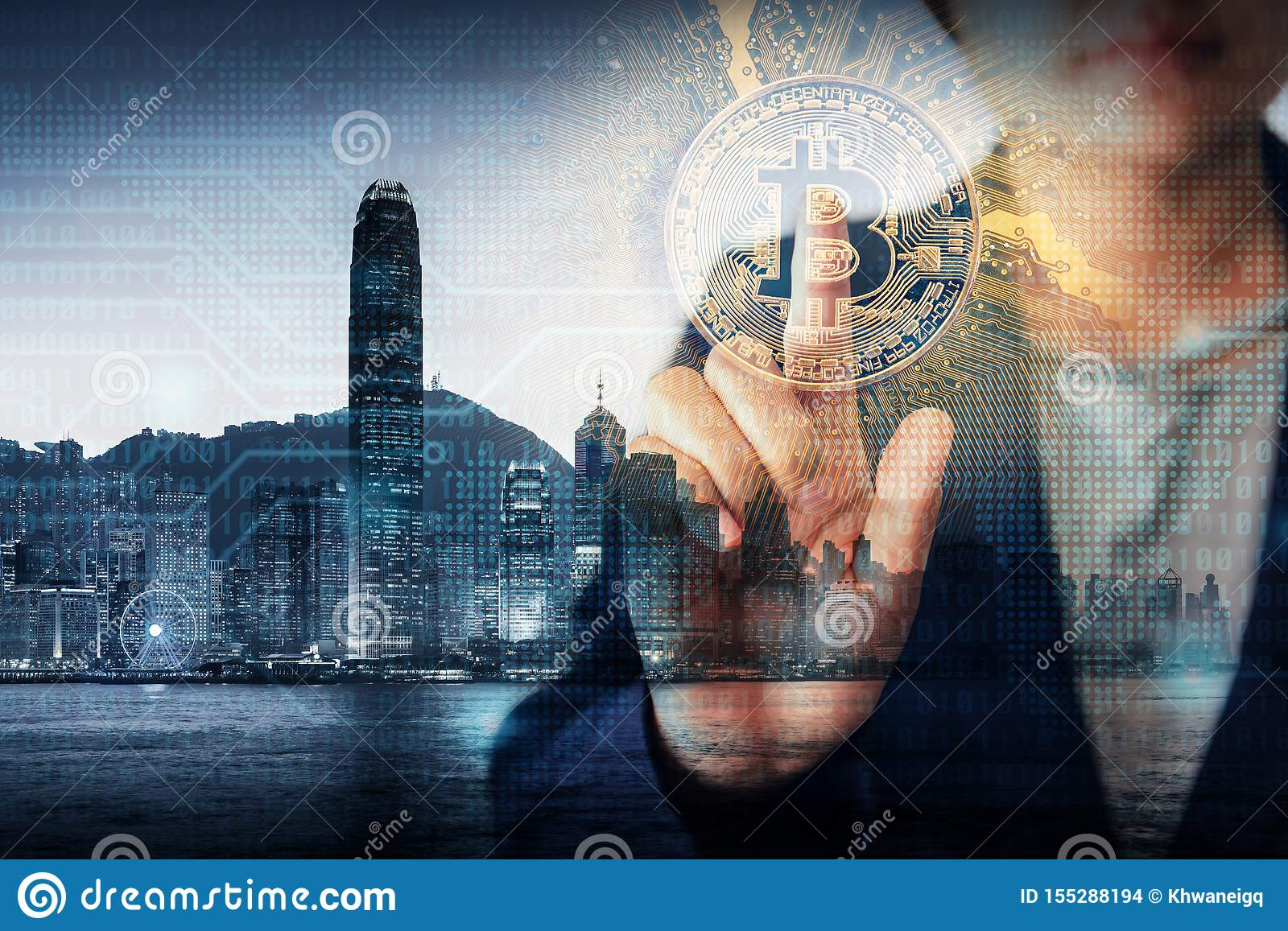 Double Exposure Business Finance and Technology Cryptocurrency Concept, Business Woman Hand is Pressing Bitcoin With Hong Kong