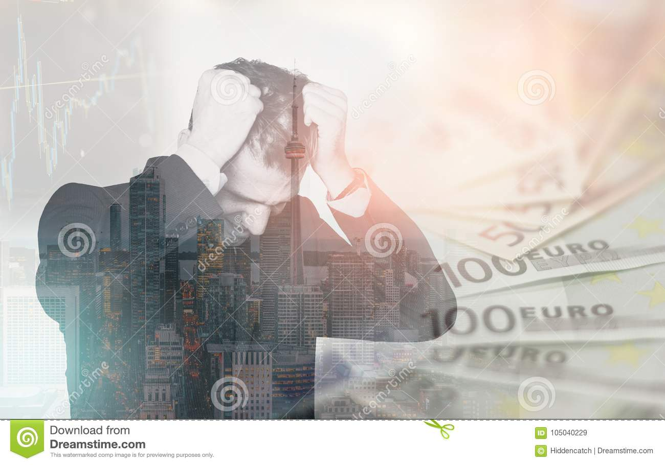 Double exposure of business man in stress over financial issues, pulling his hair in despair. Finance concept