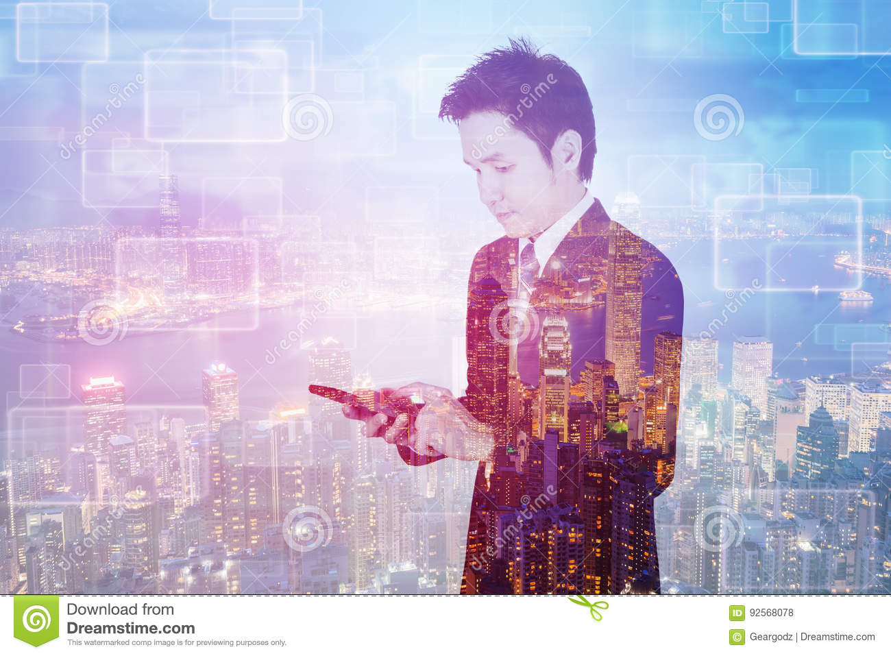 Double exposure of business man using smart phone with city back
