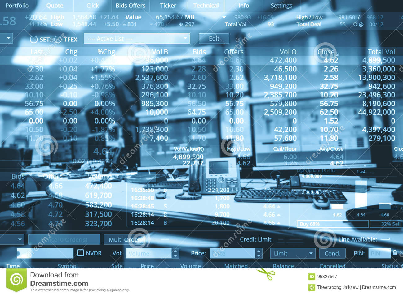 Double exposure of business stock trading room with computer and