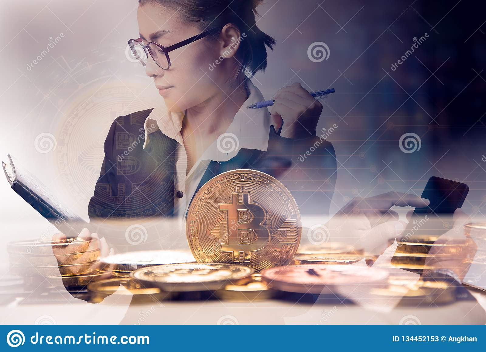Double exposure business woman holding chart with bit coin