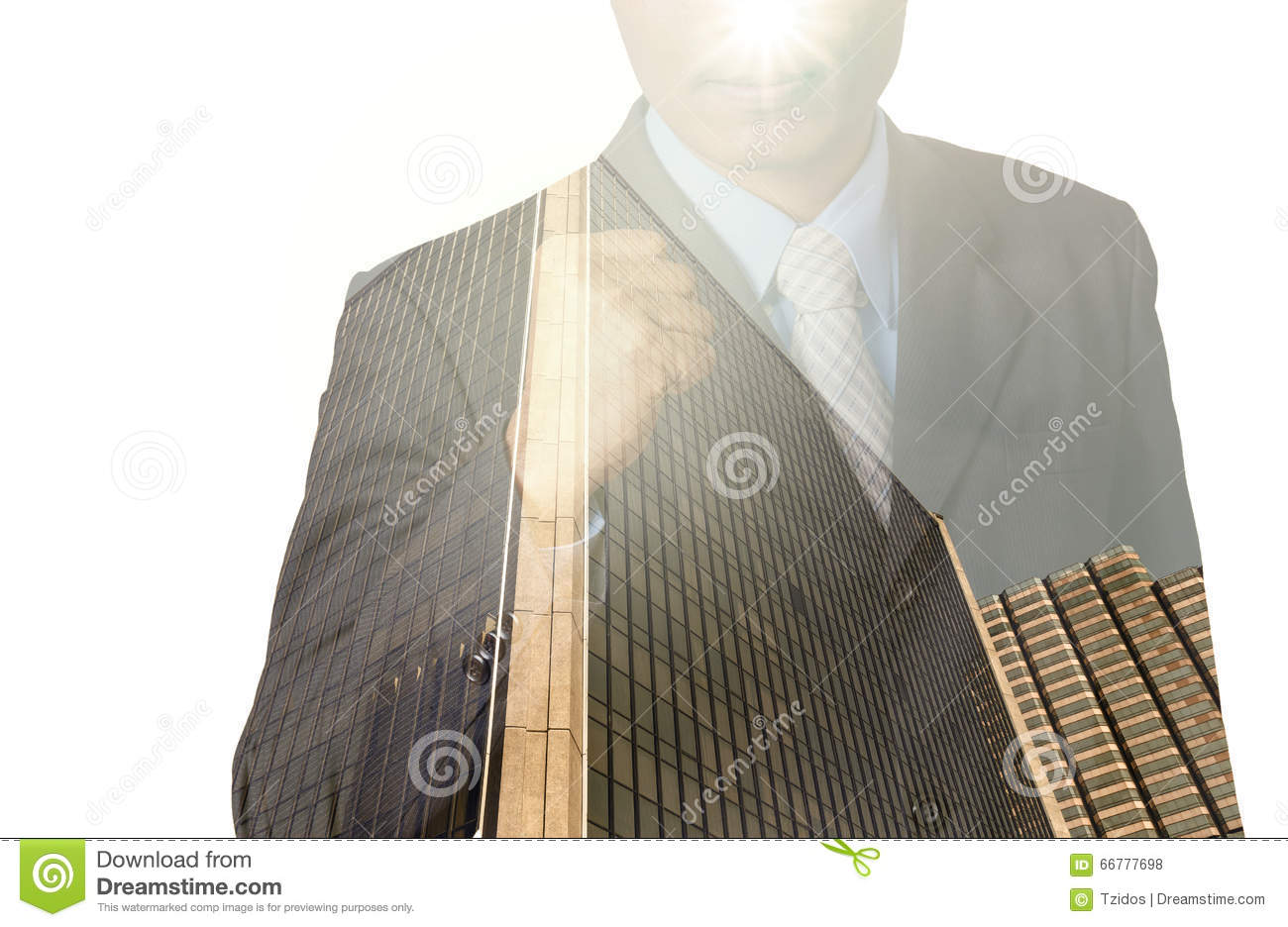 Double exposure of businessman with cityscape, Modern glass Business building