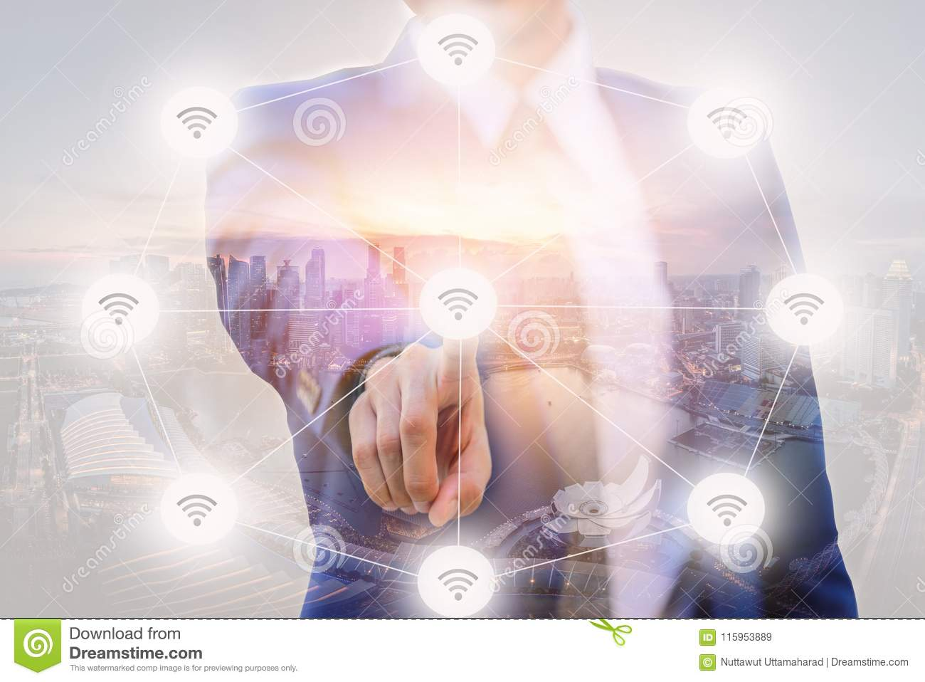 Double Exposure of Businessman pointing finger to screen choice